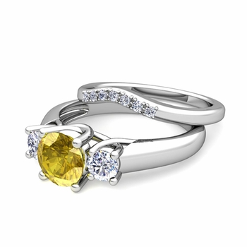 Trellis Diamond and Yellow Sapphire Three Stone Ring Bridal Set in 14k Gold, 7mm