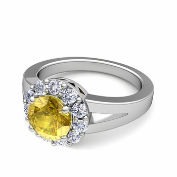 Radiant Diamond and Yellow Sapphire Halo Engagement Ring in Platinum, 7mm