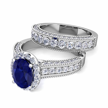 Bridal Set of Heirloom Diamond and Sapphire Engagement Wedding Ring in 14k Gold, 7x5mm