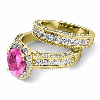 Bridal Set of Heirloom Diamond and Pink Sapphire Engagement Wedding Ring in 18k Gold, 7x5mm