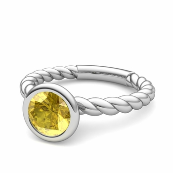 Bezel Set Solitaire Yellow Sapphire Ring in 14k Gold Twisted Rope Band, 7mm