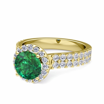 Two Row Diamond and Emerald Engagement Ring in 18k Gold, 6mm
