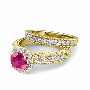Vintage Inspired Diamond and Pink Sapphire Engagement Ring Bridal Set in 18k Gold, 6mm