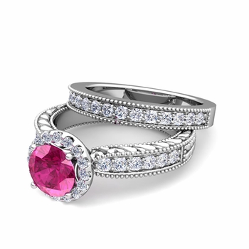 Vintage Inspired Diamond and Pink Sapphire Engagement Ring Bridal Set in Platinum, 6mm