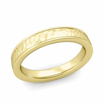 Hammered Finish Wedding Band in 18k White or Yellow Gold Comfort Fit Band, 4mm