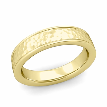 Hammered Finish Wedding Band in 18k White or Yellow Gold Comfort Fit Band, 5mm