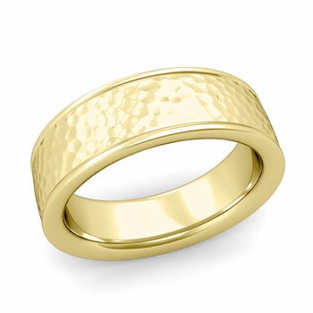 Hammered Finish Wedding Band in 18k White or Yellow Gold Comfort Fit Band, 7mm
