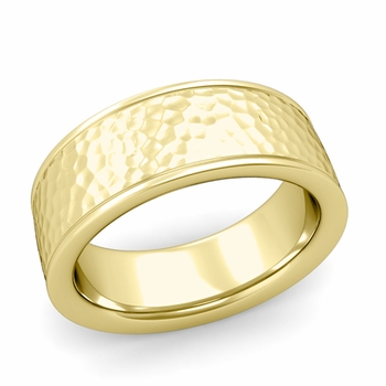 Hammered Finish Wedding Band in 18k White or Yellow Gold Comfort Fit Band, 8mm