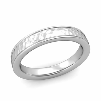 Hammered Finish Mens Wedding Band in Platinum Comfort Fit Band, 4mm