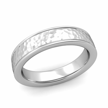 Hammered Finish Mens Wedding Band in Platinum Comfort Fit Band, 5mm