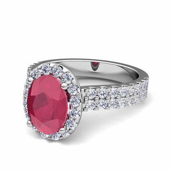 Two Row Diamond and Ruby Engagement Ring in 14k Gold, 9x7mm