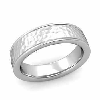 Hammered Finish Mens Wedding Band in Platinum Comfort Fit Band, 6mm