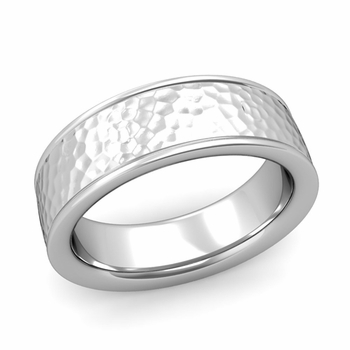 Hammered Finish Mens Wedding Band in Platinum Comfort Fit Band, 7mm