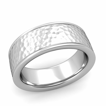 Hammered Finish Mens Wedding Band in Platinum Comfort Fit Band, 8mm