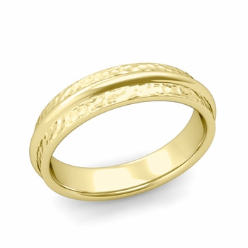 Ridged Wedding Band in 18k Gold Hammered Finish Comfort Fit Band, 5mm