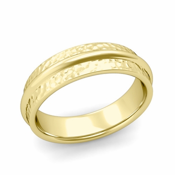Ridged Wedding Band in 18k Gold Hammered Finish Comfort Fit Band, 6mm