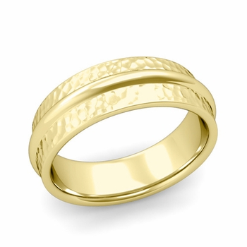 Ridged Wedding Band in 18k Gold Hammered Finish Comfort Fit Band, 7mm