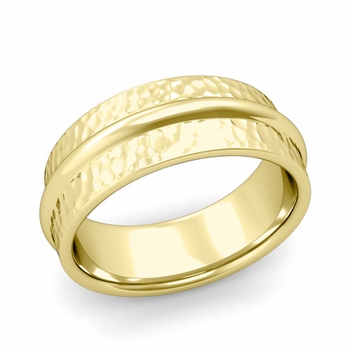 Ridged Wedding Band in 18k Gold Hammered Finish Comfort Fit Band, 8mm