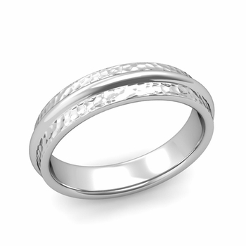 Ridged Wedding Band in Platinum Hammered Finish Comfort Fit Band, 5mm
