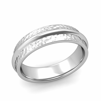 Ridged Wedding Band in Platinum Hammered Finish Comfort Fit Band, 6mm