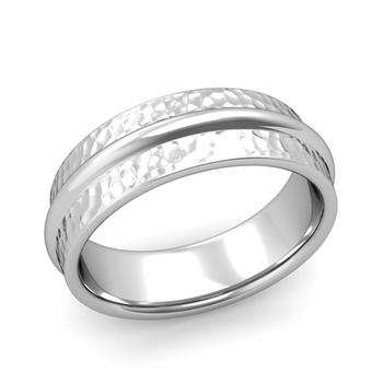 Ridged Wedding Band in Platinum Hammered Finish Comfort Fit Band, 7mm