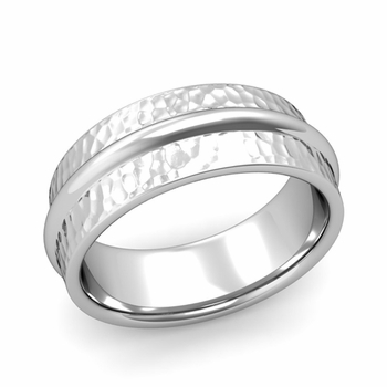 Ridged Wedding Band in Platinum Hammered Finish Comfort Fit Band, 8mm
