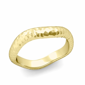 Curved Hammered Finish Wedding Ring in 18k Gold Comfort Fit Band, 4mm