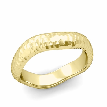 Curved Hammered Finish Wedding Ring in 18k Gold Comfort Fit Band, 5mm