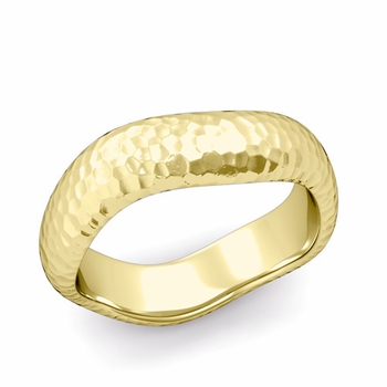 Curved Hammered Finish Wedding Ring in 18k Gold Comfort Fit Band, 6mm