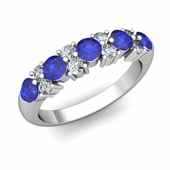Garland Diamond and Sapphire Wedding Ring in 14k Gold