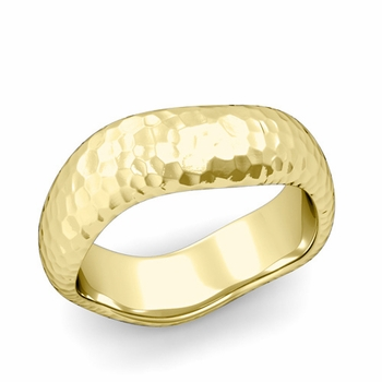 Curved Hammered Finish Wedding Ring in 18k Gold Comfort Fit Band, 7mm