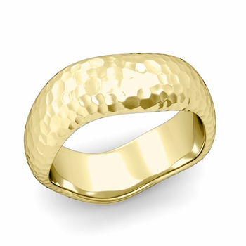Curved Hammered Finish Wedding Ring in 18k Gold Comfort Fit Band, 8mm