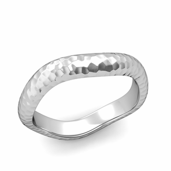 Curved Hammered Finish Wedding Ring in Platinum Comfort Fit Band, 4mm