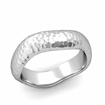 Curved Hammered Finish Wedding Ring in Platinum Comfort Fit Band, 6mm