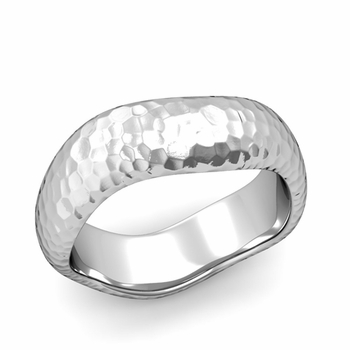 Curved Hammered Finish Wedding Ring in Platinum Comfort Fit Band, 7mm