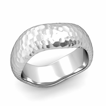 Curved Hammered Finish Wedding Ring in Platinum Comfort Fit Band, 8mm