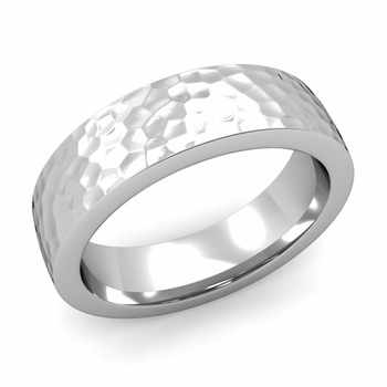 Flat Comfort Fit Wedding Band in 14k White or Yellow Gold, Hammered Finish, 6mm