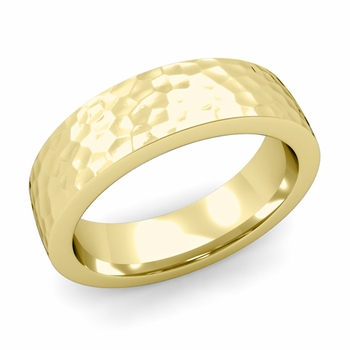 Flat Comfort Fit Wedding Band in 18k White or Yellow Gold, Hammered Finish, 6mm