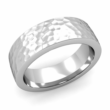 Flat Comfort Fit Wedding Band in 14k White or Yellow Gold, Hammered Finish, 7mm