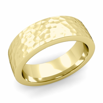 Flat Comfort Fit Wedding Band in 18k White or Yellow Gold, Hammered Finish, 7mm