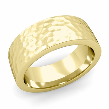 Flat Comfort Fit Wedding Band in 18k White or Yellow Gold, Hammered Finish, 8mm