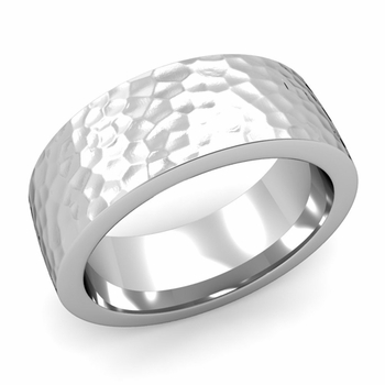 Flat Comfort Fit Wedding Band in Platinum, Hammered Finish, 8mm