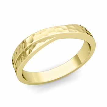 Infinity Wedding Band in 18k Gold Hammered Comfort Fit Ring, 4mm