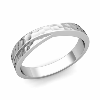 Infinity Wedding Band in Platinum Hammered Comfort Fit Ring, 4mm