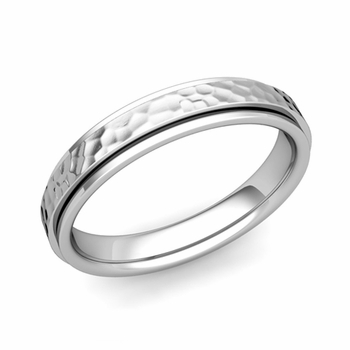 Park Avenue Wedding Band in 14k Gold Hammered Comfort Fit Ring, 4mm