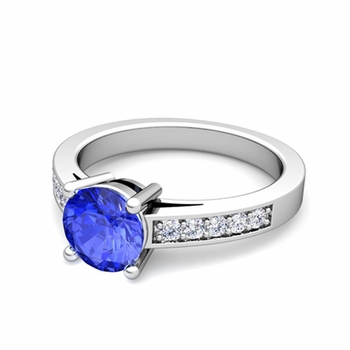 Pave Diamond and Solitaire Ceylon Sapphire Engagement Ring in Platinum, 7mm
