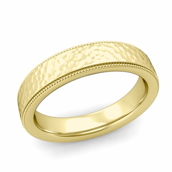 Milgrain Flat Wedding Ring in 18k Gold Comfort Fit Band, Hammered Finish, 5mm