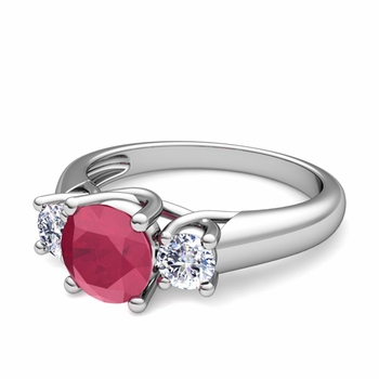 Trellis Diamond and Ruby Three Stone Ring in 14k Gold, 6mm