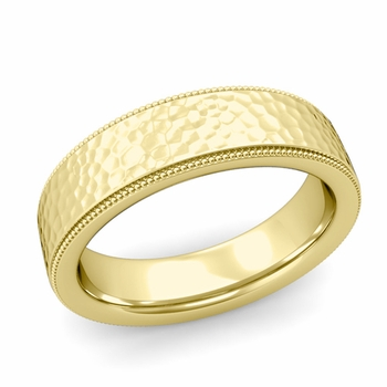 Milgrain Flat Wedding Ring in 18k Gold Comfort Fit Band, Hammered Finish, 6mm