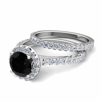 Bridal Set: Petite Pave Black and White Diamond Engagement Wedding Ring in 14k Gold, 7mm